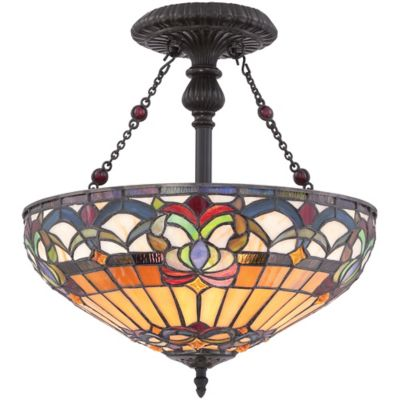 Quoizel Belle Fleur Semi-Flush Mount Ceiling Fixture in Vintage Bronze