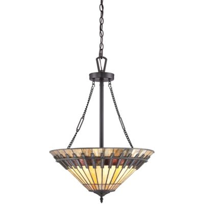 Quoizel Chastain 3-Light Ceiling-Mount Pendant Light in Vintage Bronze with Tiffany Shade