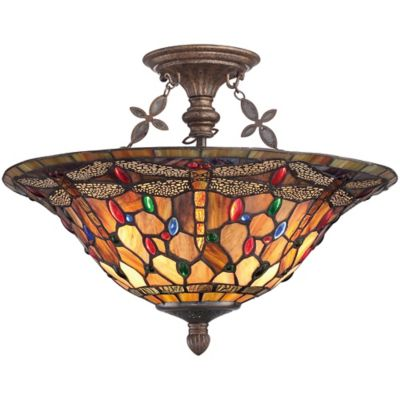 Quoizel Jewel Dragonfly 3-Light Semi-Flush Mount Ceiling Fixture in Malaga