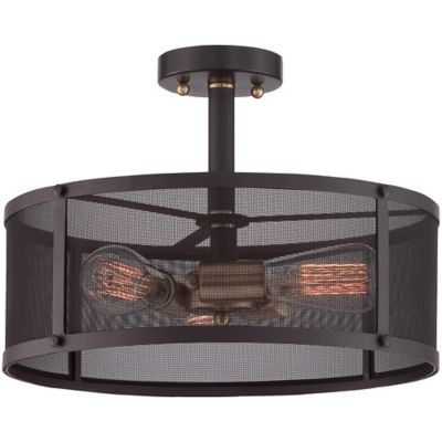 Quoizel Union Station 3-Light Large Semi-Flush Mount in Bronze