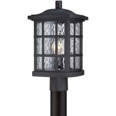 Quoizel Stonington Outdoor Large Post-Mount Lantern in Black