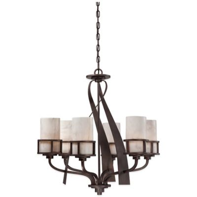 Quoizel Kyle 6-Light Ceiling-Mount Chandelier in Iron Gate with Onyx Shade