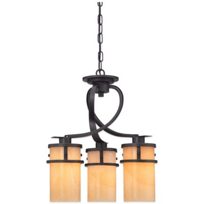 Quoizel Kyle 3-Light Ceiling-Mount Dinette Light in Bronze with Onyx Shade