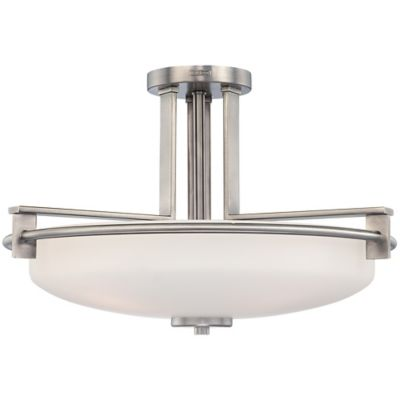 Quoizel Taylor 4-Light Semi-Flush-Mount Ceiling Light in Antique Nickel with Opal Etched-Glass Shade