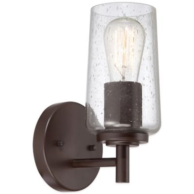 Quoizel Edison 1-Light Wall-Mount Bath Fixture with Clear Seeded Glass Shade