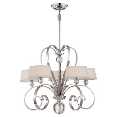 Quoizel Uptown Madison Manor 5-Light Chandelier in Silver with Linen Shades
