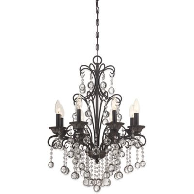 Quoizel Carrabelle 4-Light Ceiling-Mount Chandelier in French Bronze