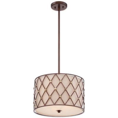 Quoizel Brown Lattice 3-Light Pendant Ceiling Mount Light Fixture in Canyon Copper