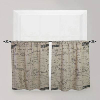 Park B. Smith Script Café 24-Inch Window Curtain Tier Pair in Linen