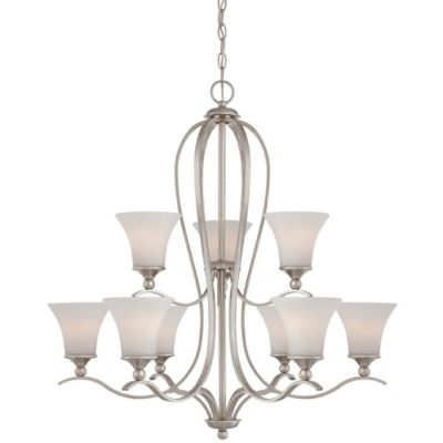 Quoizel Sophia 9-Light Ceiling-Mount Chandelier in Brushed Nickel with Opal Etched-Glass Shade