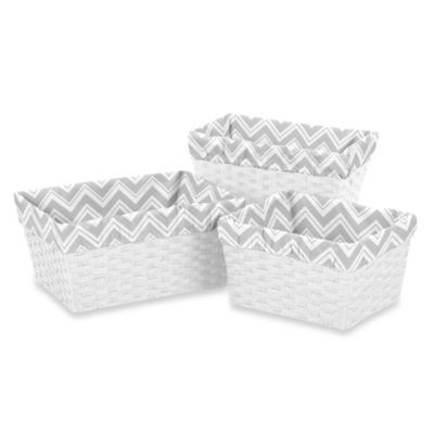 Sweet Jojo Designs Zig Zag Basket Liners in Grey