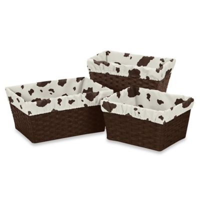 Sweet Jojo Designs Cowgirl 3-Piece Cow Print Basket Liner Set in Cream