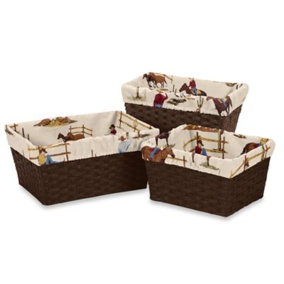 Sweet Jojo Designs Wild West Cowboy Basket Liners (Set of 3)