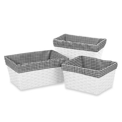 Sweet Jojo Designs Polka Dot Ladybug Basket Liners in Black/White (Set of 3)