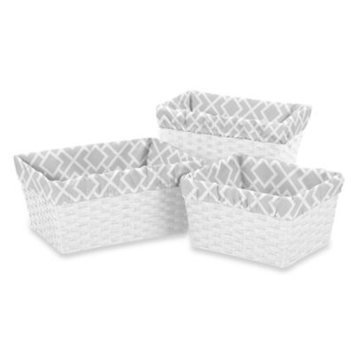 Sweet Jojo Designs Diamond Collection 3-Piece Basket Liner Set in Grey/White