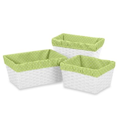 Sweet Jojo Designs Mini Polka Dot Basket Liners in Lime/White (Set of 3)
