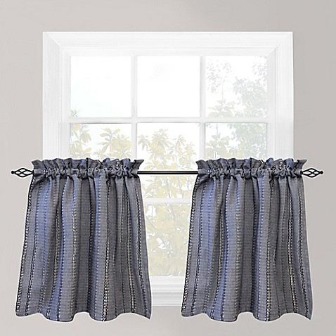 Buy Park B Smith Eyelet Chambray 36 Inch Window Curtain Tier Pair In Navy From Bed Bath Beyond