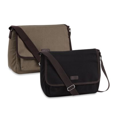 Sachi™ Canvas Messenger Insulated Lunch Tote in Black