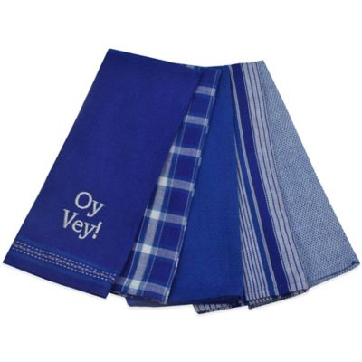 Oy Vey Kitchen Towel in Blue/White (Set of 5)