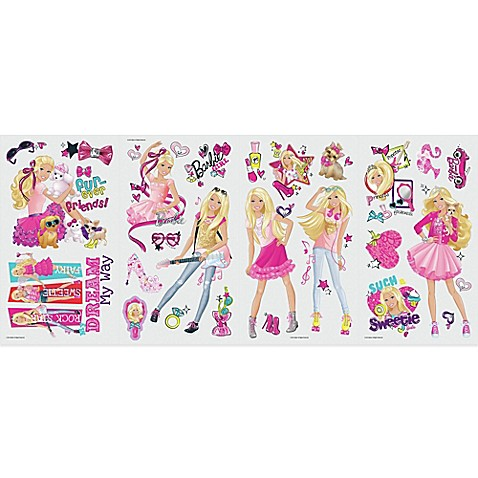 Roommates barbie pinktastic peel and stick wall decals for Barbie wall mural