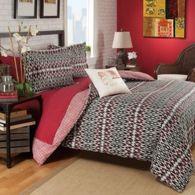 Brooklyn Flat Zuna 3-Piece Reversible King Comforter Set in Red
