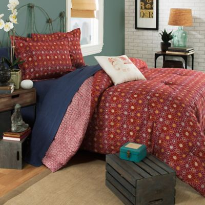 Brooklyn Flat Ceylon Reversible Full/Queen Comforter Set in Red