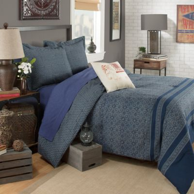 Brooklyn Flat Indira Reversible 3-Piece Full/Queen Comforter Set in Blue