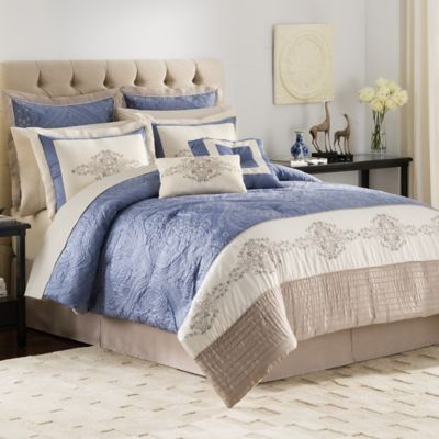 Vendome 12-Piece Complete Queen Comforter Set in Ivory/Blue