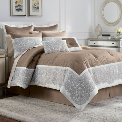 Torino 12-Piece Complete California King Comforter Set in Ivory/Beige