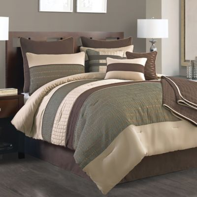 Lexiara 10-Piece Full Comforter Set in Taupe/Brown