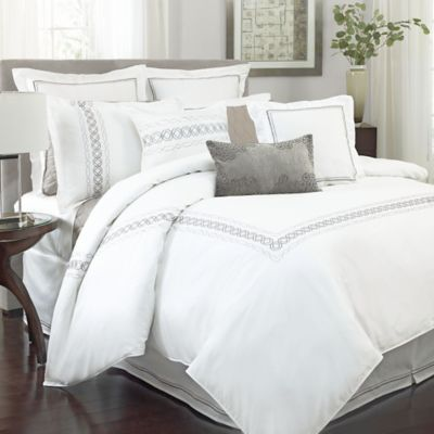 Charisma Bradford Full/Queen Duvet Cover Set in White