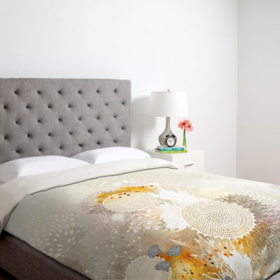 DENY Designs Iveta Abolina White Velvet Twin Duvet Cover in Yellow