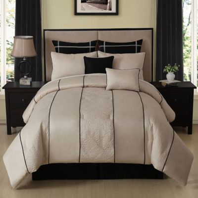Cecelia 8-Piece Queen Comforter Set in Ivory/Black