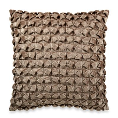 Textured Pleated Velvet Square Throw Pillow in Natural