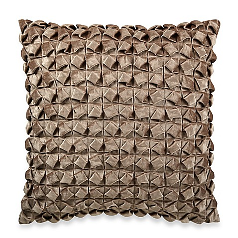 Throw Pillows Textured : Textured Pleated Velvet Square Throw Pillow in Natural - Bed Bath & Beyond