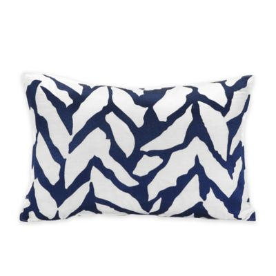 Trina Turk® Silver Lake Organic Herringbone Oblong Throw Pillow in Blue/White