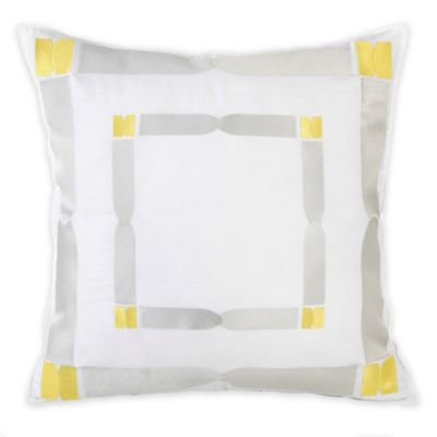 Trina Turk® Twiggy Ikat Fully Framed Square Throw Pillow in Yellow/Grey