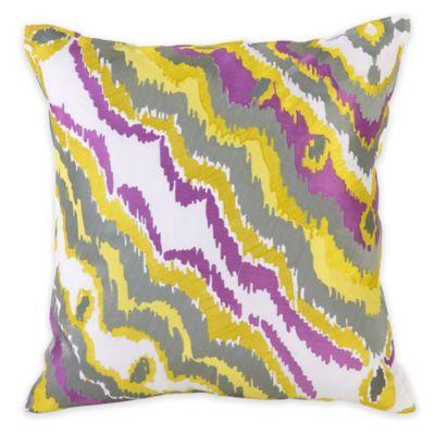 Trina Turk® Twiggy Ikat Ziggy Diamond Square Throw Pillow in Yellow/Grey
