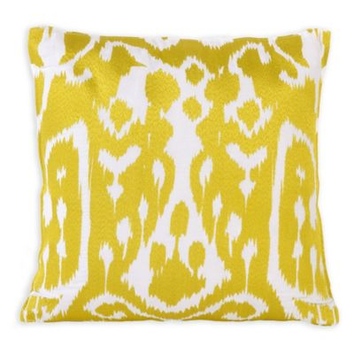 Trina Turk® Twiggy Ikat Square Throw Pillow in Yellow/Grey