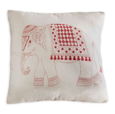 Brooklyn Flat Elephant Square Throw Pillow in Red