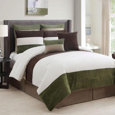 Dakota 8 Piece King Comforter Set In Olive