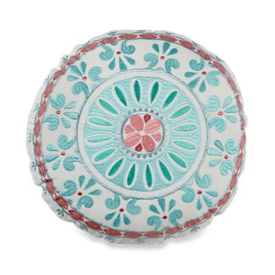 Dena™ Home Sloane Round Throw Pillow in Aqua/White