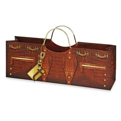 Croc Wine Purse Bag in Brown