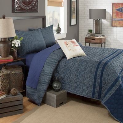 Brooklyn Flat Indira Reversible Twin Quilt Set in Blue