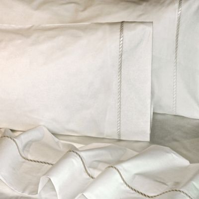 Versai Claudia Embroidered Rope Luxury Italian-Made 4-Piece King Sheet Set in White