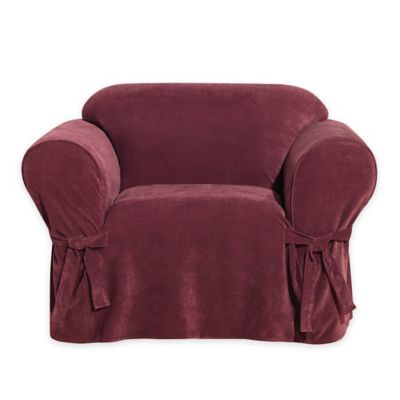 Everyday Chenille 1-Piece Chair Slipcover in Red