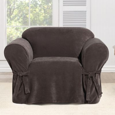 Everyday Chenille 1-Piece Chair Slipcover in Chocolate