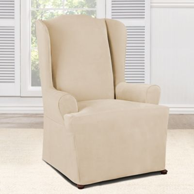 Sure Fit® Everyday Chenille 1-Piece Wing Chair Slipcover in Tan