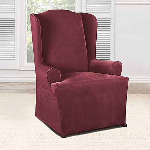 buy sure fit everyday chenille 1 piece wing chair