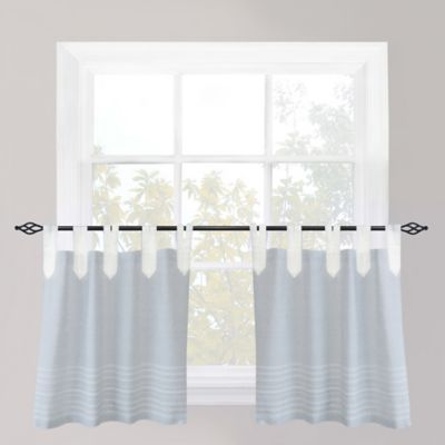 Park B. Smith Nordic Bands Tab Top 24-Inch Window Curtain Tier Pair in Chambray
